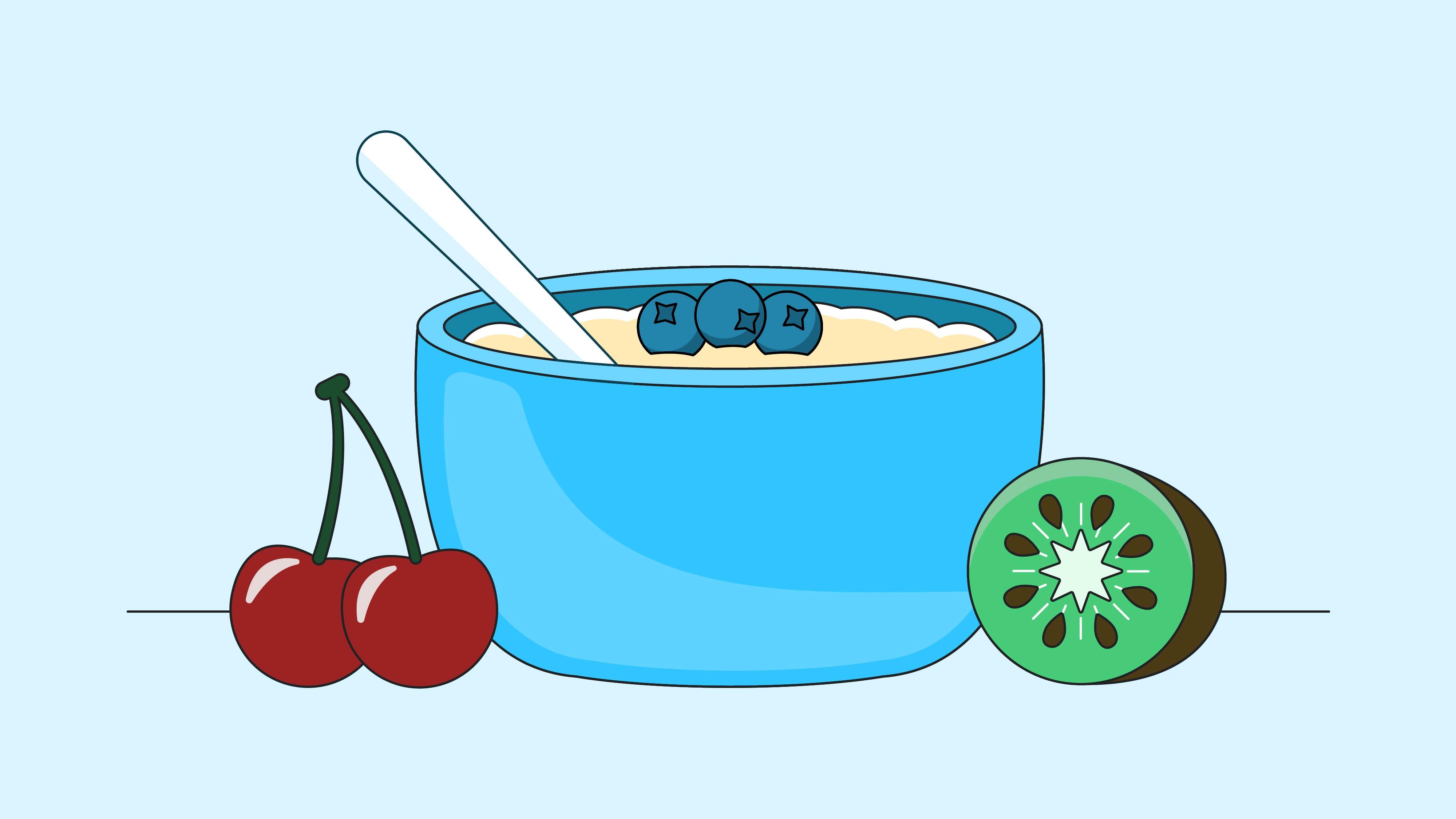 kiwi, oatmeal and tart cherry