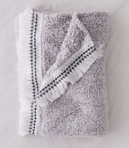 Amped Fleece Fringe Trim Throw Blanket by Urban Outfitters