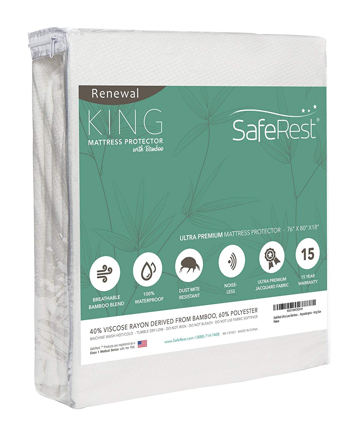 SafeRest Renewal Bamboo Derived Waterproof Mattress Protector<